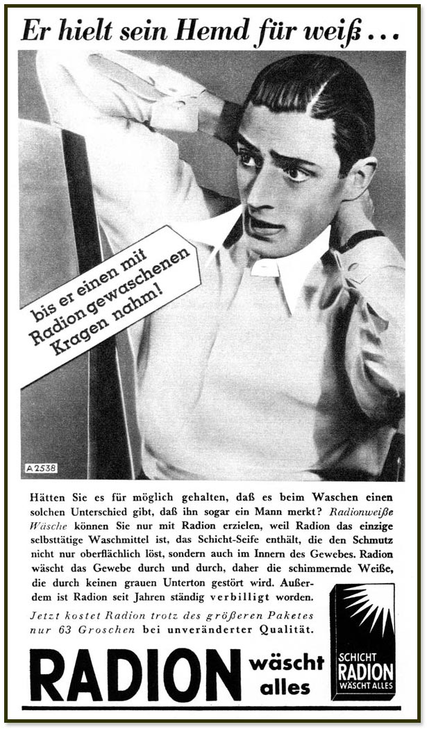 """Werbung vom 13.3.1938 in """"Wiener Bilder"""": Er hielt sein Hemd für weiß …"""