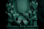 Schmiedeeisene Blätter einer Jugendstillampe auf der Baumgartner Höhe, Detail