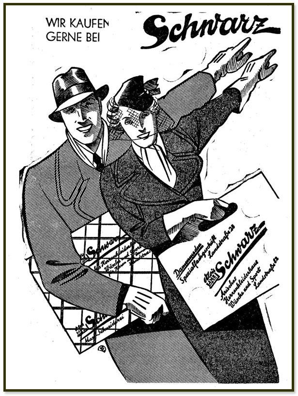 """Werbung vom 12.3.1938 im Linzer Volksblatt: """"Wir kaufen gerne bei Schwarz"""""""